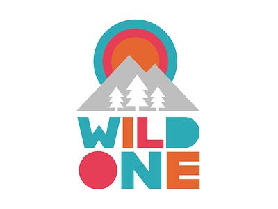 Wild One 1st Birthday Design birthdayparty mountains apparel 1yearold 1stbirthday birthday badge retro thick lines logo wildone
