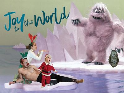 Joy To The World yeti xmas funny postcard reindeer santa awkward family photos cat bad design christmas card snowman rudolph
