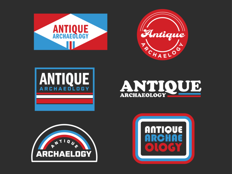 Antique Archaeology American Pickers Badges modern fun signage mike wolfe sticker junking vintage retro thick lines logo badge american pickers antique