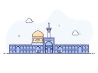 Imam Reza shrine iran illustration vector