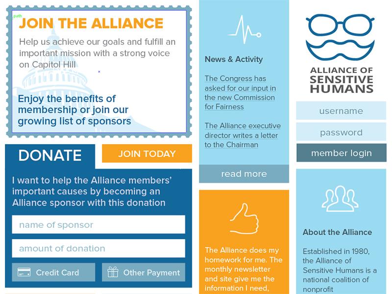 Alliance of Sensitive Humans ui grid website