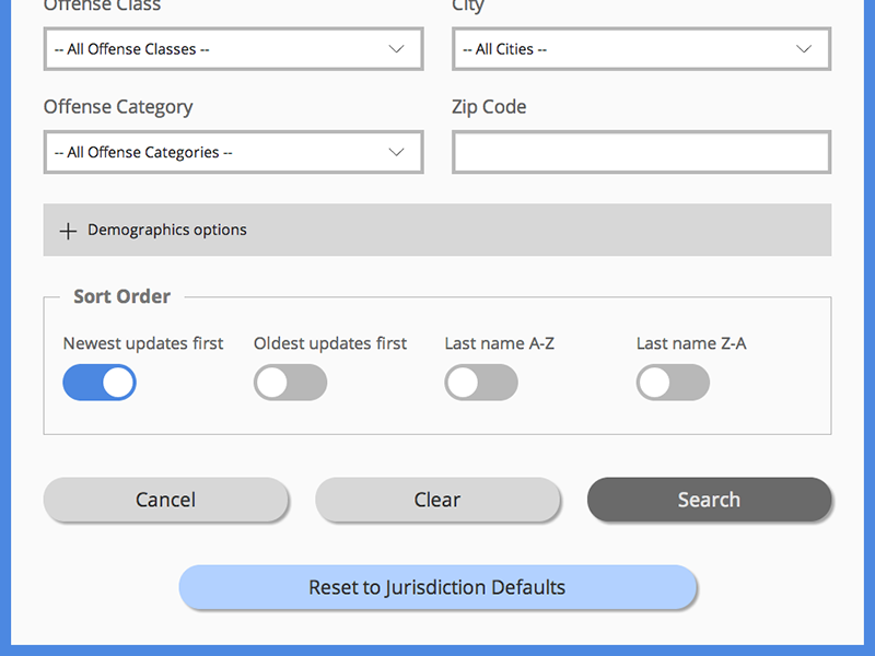 Search Options grid flat ui search form