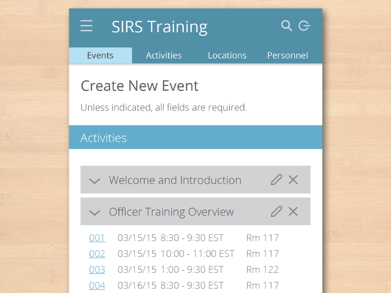 Create New Event view ui mobile flat material app