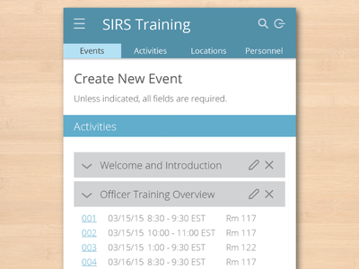 Create New Event view