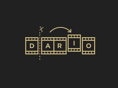 Dario the Editor film editor cut scissors identity branding logo editor edit film strip film
