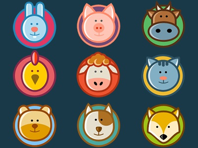 Animal icons animals icons free rabbit pig cow chicken sheep cat bear dog fox