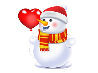 Snowman snowman heart snow icon illustration new year