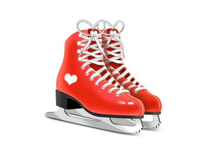 Ice Skates cold red icon illustration winter ice skates