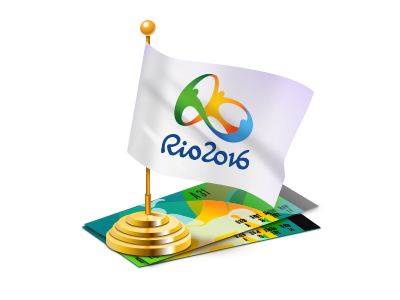 Rio 2016 flag and tickets sport 2016 rio flag olympic game ticket illustration icon