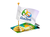 Rio 2016 flag and tickets
