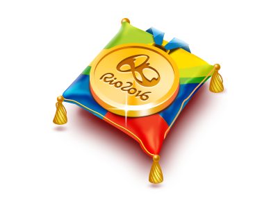 Rio 2016 souvenir pillow win reward gold sport 2016 rio pillow olympic game illustration icon medal game