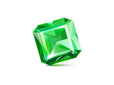 Emerald icon treasure game luxury rich light illustration icon green gem emerald