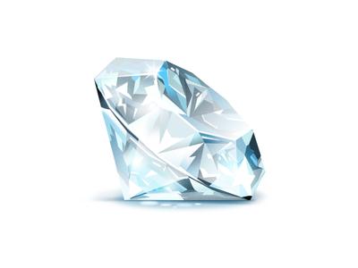 Diamond blue white diamond gem icon illustration light rich luxury game treasure concept