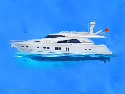 Yacht Fair Line 74 trip relax rest ocean blue icon illustration water sea fair line 74 yacht