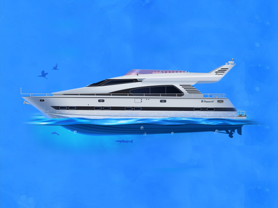 Elegance 65 summer yacht water trip sea rest relax ocean illustration icon elegance 65 blue