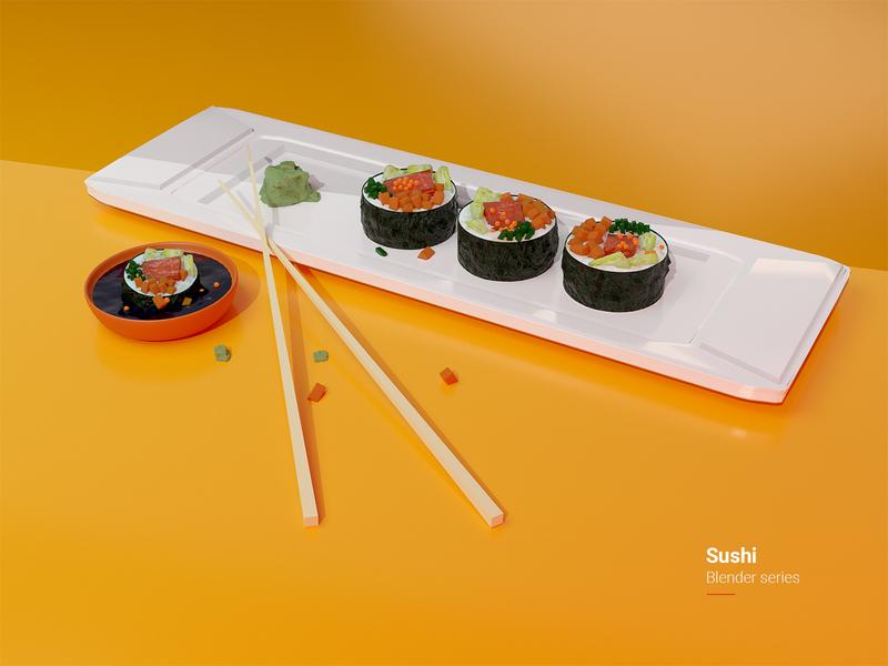 Sushi - Blender series sushi logo maki nori summer cyclesrender photoshop illustration food modeling blender3d blender 3d sushi roll sushi