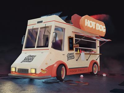 Food truck - Blender series blender3d modeling 3d rendering cgart 3d artist series india photoshop illustration hotdog truck cyclesrender blender 3d foodtruck