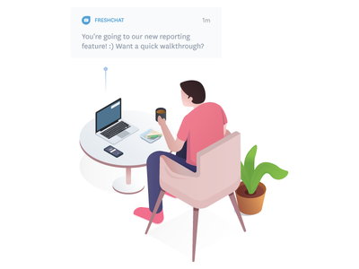 Re-engage lapsing customers people campaign homepage bot deal close chat isometric freshchat illustration
