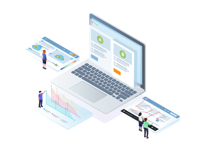 All-In-One Conversion Optimization Suite test ab abtesting homepage deal cro isometric freshmarketer illustration