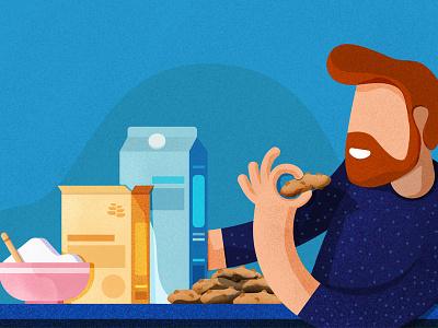 Milk, Flour & Sugar illustration stipple illustrator photoshop person web blog cookies sugar flour milk