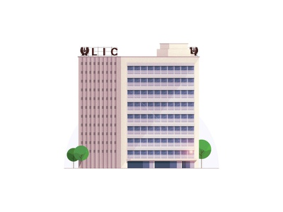 LIC Building - Chennai series lic building photoshop illustrator stipple illustration