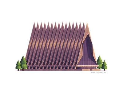 The Cadet Chapel -  Colorado Springs cadet chapel series stipple united states colorado springs building photoshop illustrator illustration
