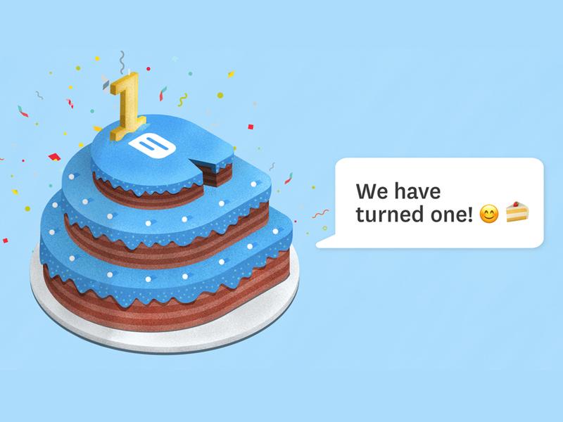 Freshchat Turns One happy birthday ai adobe photoshop birthday cake cake chat design illustrator stipple illustration