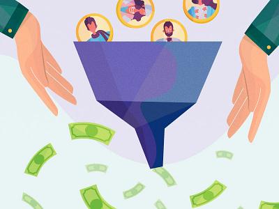 Convert free to paid customers free money paid customers adobe funnel design photoshop stipple illustrator illustration