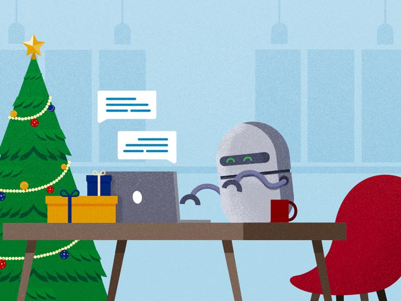 Handling support during holidays blog design blog cover freshchat chat support holiday holiday season bots illustrator cc illustration