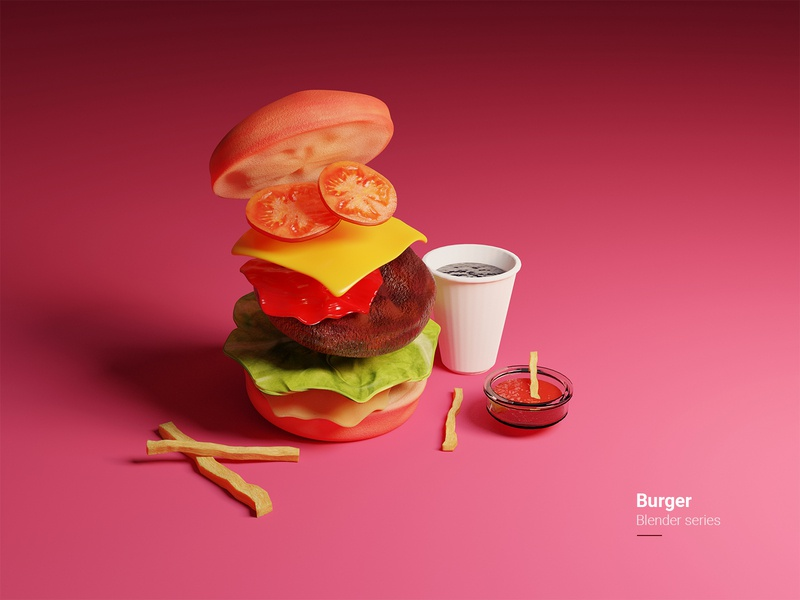 Burger - Blender series patty bun lettuce cheese tomato glass cola sauce french fries burger photoshop