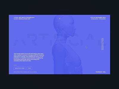 Artificial Website artificial robot transition clean development ux ui branding motion website layout minimal design
