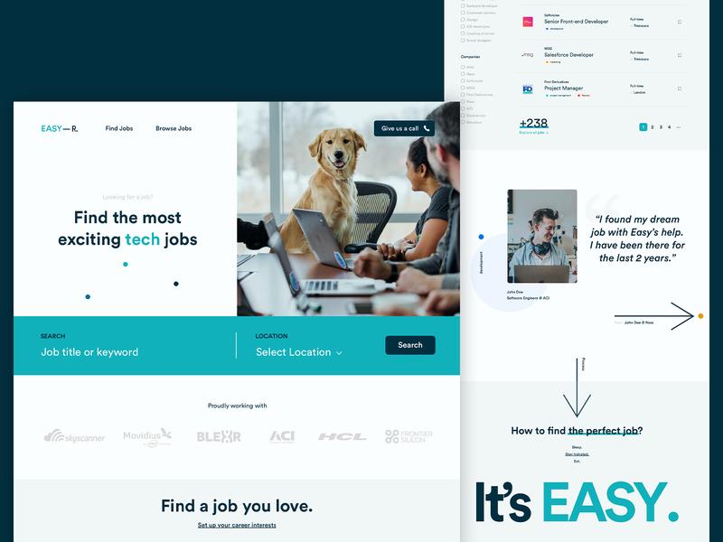 Easy — R website minimal ui recruit branding whitespace website portal cms recruiting easy