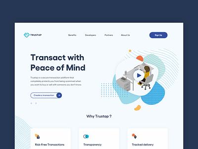 trustap website transactions fintech friendly colors clean web illustration development website branding minimal ux ui design
