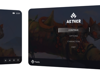 🎮💜 Aether game interface design illustration uiux vector interface game game ui ux ui design ui design flat