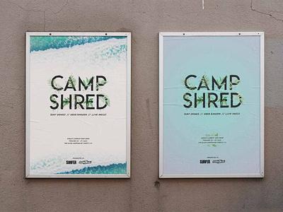 Camp Shred Surf Event Poster Design 3 typography print branding design