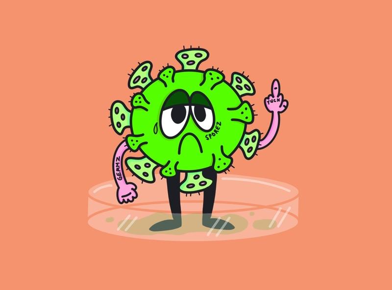 Covid bad boy design vector adobe stay home petri dish bitmap procreate illustrator germs pandemic illustration corona virus covid germ covid 19