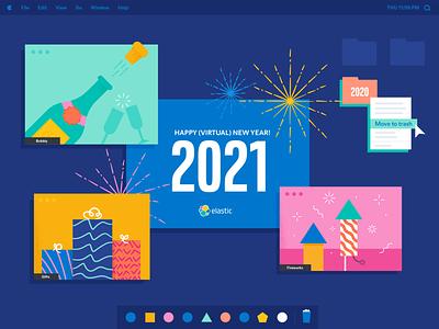 Let's go 2021! flat illustrator vector illustration design trash gifts new year fireworks hanukkah christmas holidays zoom holiday card holiday