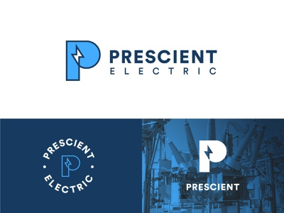 Prescient Electric illustrator lightening bolt lightening electric p typography type logo branding illustration vector design