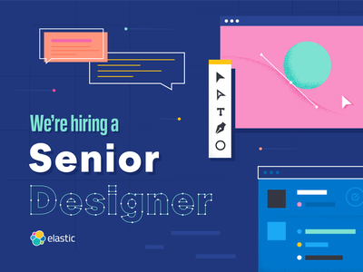 We're hiring! icon flat typography logo branding illustration design illustrator vector tech elastic senior designer hiring