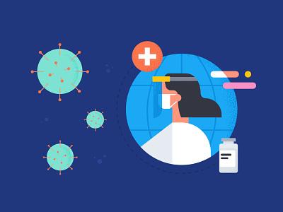 Covid-19 Response colors flat illustrator vector illustration design face shield healthcare vaccine ppe covid-19 virus covid