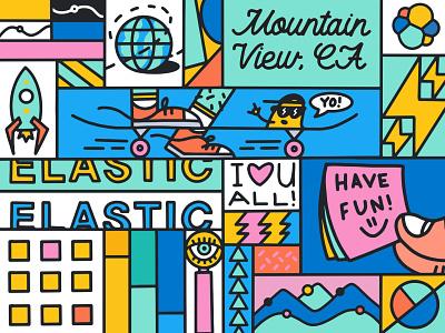 Elastic HQ mural globe rocket biker skateboard mural design muralist murals mural