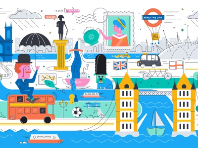 London Mural london underground fish and chips data flat illustrator vector design illustration tea tower bridge mind the gap queen elizabeth queen mural london