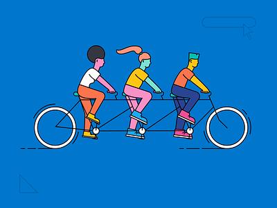 Weeeee! diversity bike virtual connect connection network ui interface tandem bike conference flat branding illustrator vector illustration design elastic