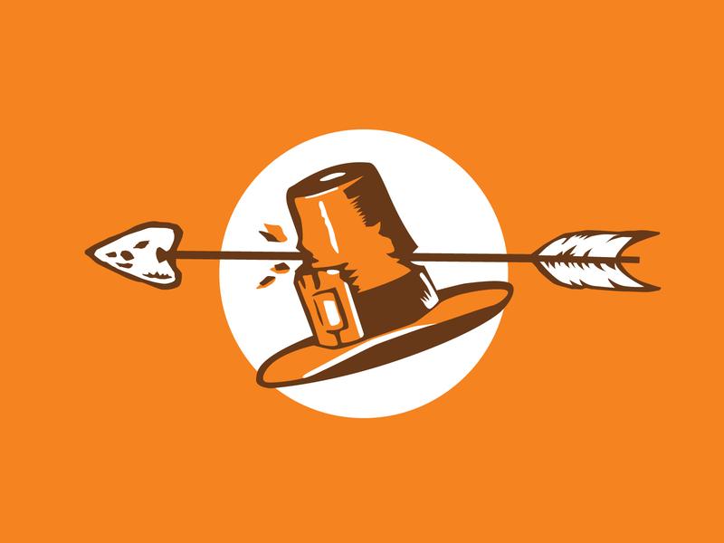 Happy Fall icon vector logo branding beer label illustration design flat  design arrow native arerican pilgrim flat thanksgiving