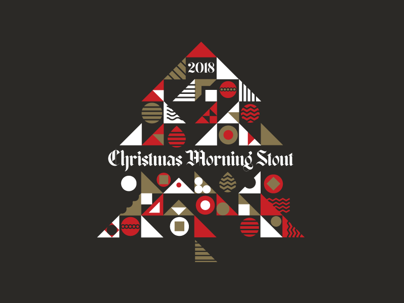 Xmas Morning Stout christmas tree craft beer stout beer label icon lettering illustrator beer branding type vector illustration typography
