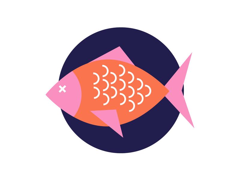 Fish flat icon illustrator logo vector illustration design seafood food plate cod sunny dinner geometry fish