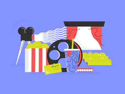 Movie Night seats ticket film soda screen reel texture movies popcorn illustrator branding logo vector illustration design
