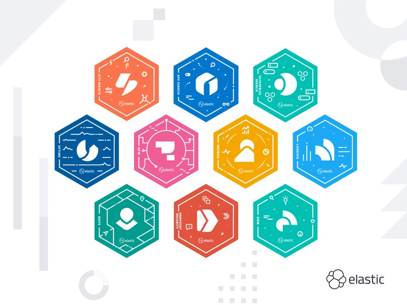 Elastic Product Stickers illustrator branding logo illustration vector design icons design logos icons software products tech hexagon stickers sticker