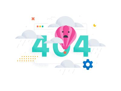 404 & 403 Error page illustrations texture data visualization data viz clouds rain hot air ballon flat illustrator branding logo typography illustration ux ui vector design