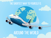 the shortest way to yourself is around the world